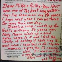 Pete Seeger Postcard to Mike + Ruthy